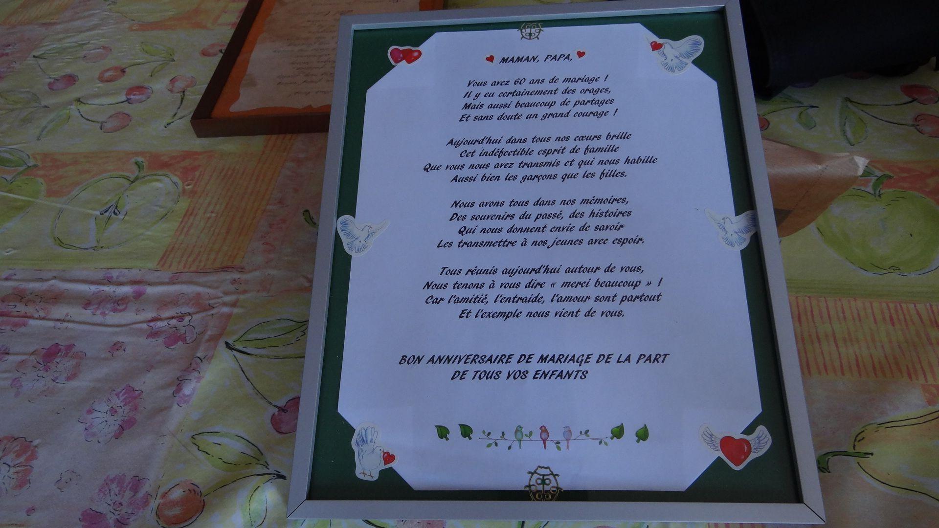 Poeme Et Cadre Offert Pour Un Anniversaire De Mariage